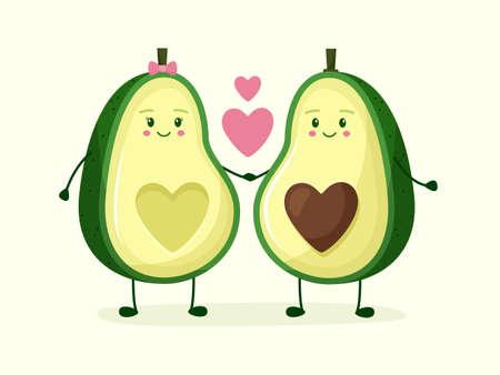 Avocado couple holding hands with love and heart. Flat style . Vector illustration Illusztráció