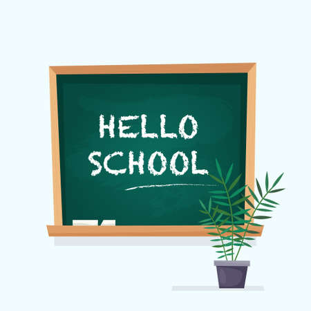 School chalkboard and chalk in classroom with plant. Flat style. Vector illustration