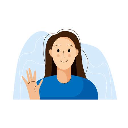 Woman greeting avatar. Girl waving hand. Flat style. Vector illustration Illusztráció