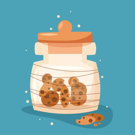 Jar with cookies in flat style. Vector illustration Illusztráció
