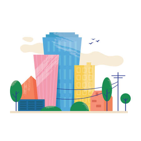 City view with skyscrappers concept in flat style. Vector illustration Illusztráció