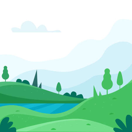 Nature park or forest outdoor background with mountains. Flat cartoon style. Vector illustration
