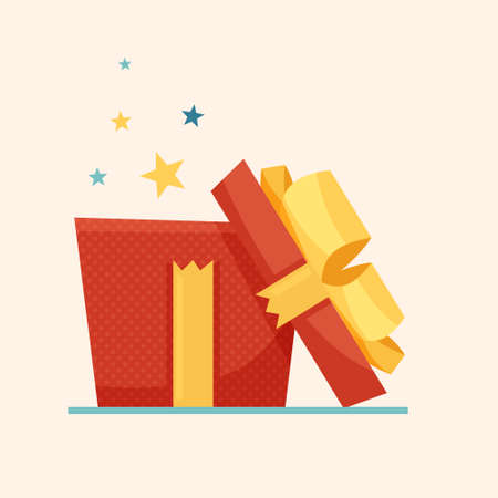 Opened surprise red gift box, birthday celebration concept, special give away package. Flat style . Vector illustration
