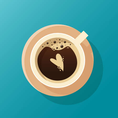 Cup of coffee top view with heart. Froth on cappuccino. Latte art. Flat style. Vector illustration Illusztráció