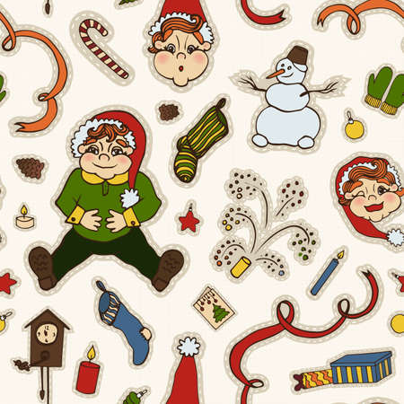gnomes: New Years Eve. Elements. Gnomes. Gifts. Embroidery. Seamless