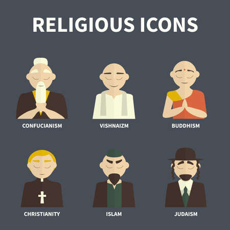 confucianism: religious people icons ((color) Illustration