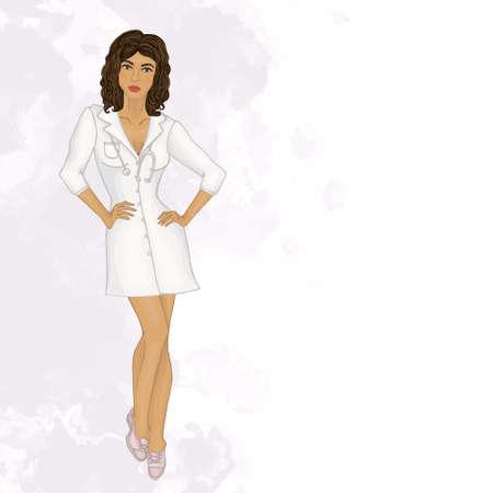 pediatrician: woman doctor. pediatrician. watercolor background Illustration