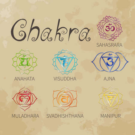 Chakra. Energy centers of the human. Icons. Handwriting. Aged paper. Texture. (color) Vector