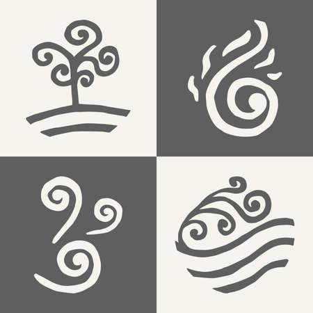four elements. land. fire. water. air. icons. doodle. monochrome Illustration