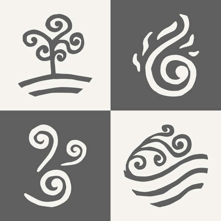 four elements. land. fire. water. air. icons. doodle. monochrome Illustration