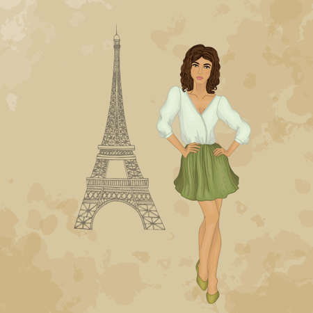 girl in Paris. brunette Vector