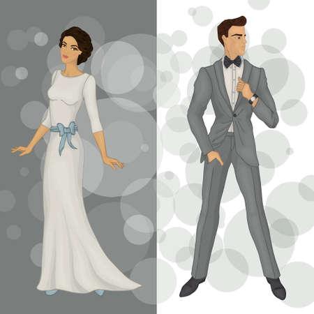 bride and groom (brunet)
