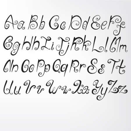 Alphabet-curls. Handwriting. Vector