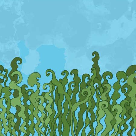 ocean floor: seaweed on the ocean floor Illustration