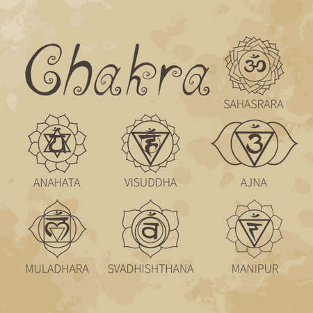 Chakra. Energy centers of the human. Icons. Handwriting. Aged paper. Texture. Vector