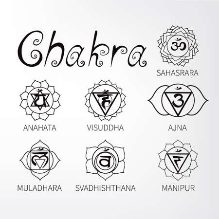 centers: Chakra. Energy centers of the human. Icons.