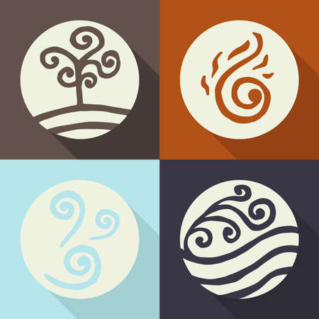 four elements. land. fire. water. air. icons. Flete. color Illustration
