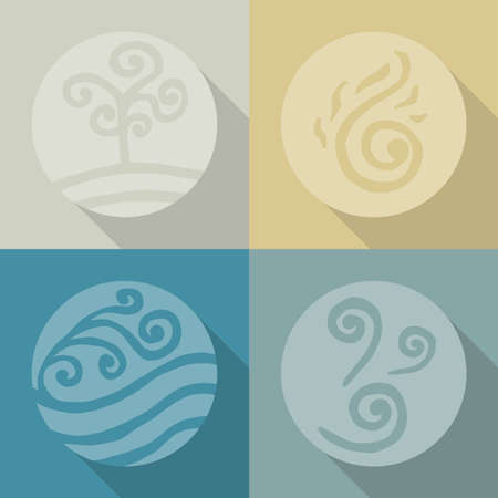 four elements. land. fire. water. air. icons. Flete