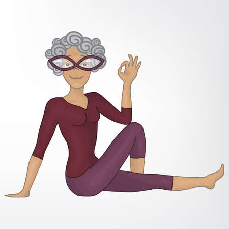 fortalecimiento: abuela. marichiasana_3. Yoga. aislado