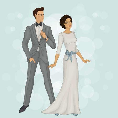 брюнет: Жених и невеста (брюнет) Иллюстрация