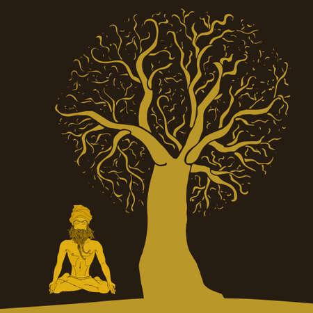 meditation man: meditation under a tree (man)