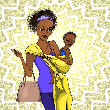 baby moeder: moeder met haar baby Stock Illustratie