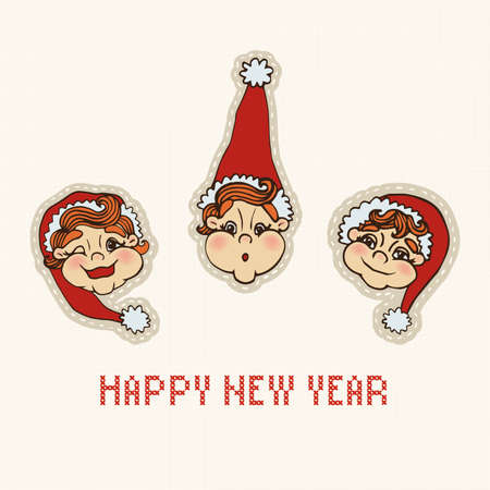 gnomes: New Years Eve. Gnomes. Embroidery. Illustration