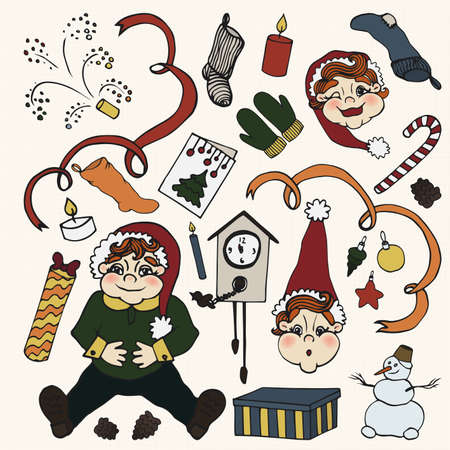 party poppers: new year. doodle set. 25  elements. hand drawin (color)