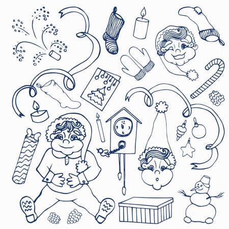 party poppers: new year. doodle set. 25  elements. hand drawin. sketch. exercise book. paper. texture. Illustration