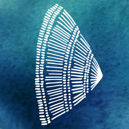 shell in the ocean (side view)watercolor background Vector