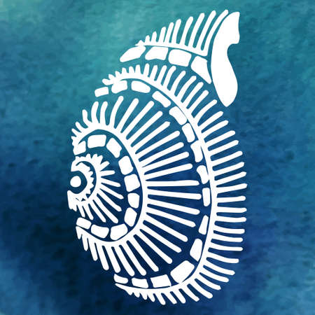 shell in the ocean (side view. curl)watercolor background Vector