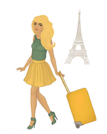 girl trevels paris. blonde Vector