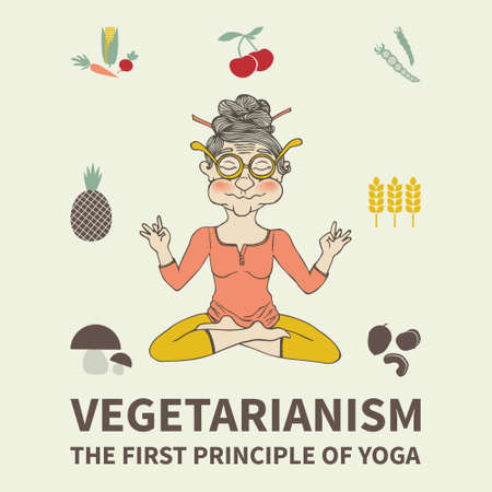 Vegetarianism. The principles of yoga. Healthy food. Vector