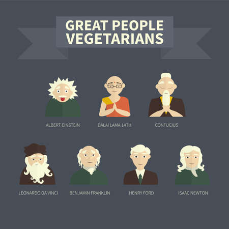 Vegetarians. Icons. Famous people. (color)