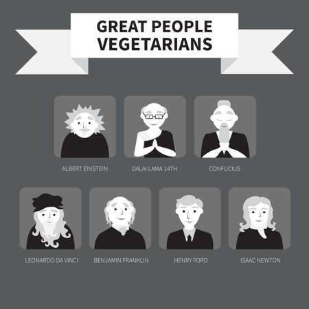 Vegetarians. Icons. Famous people. Monochrome.