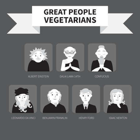 confucius: Vegetarians. Icons. Famous people. Monochrome.