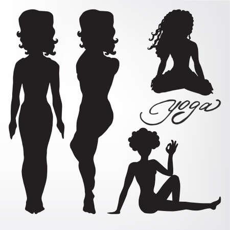 Womens yoga. silhouette. asanas.