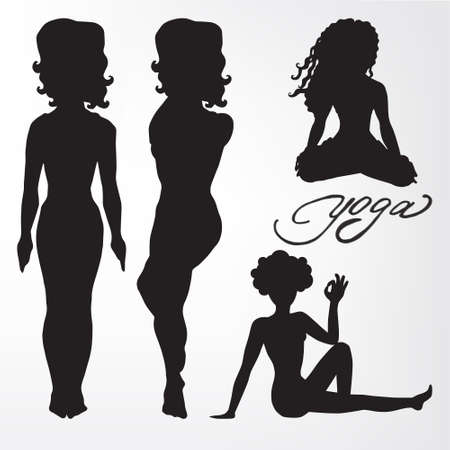 asanas: Womens yoga. silhouette. asanas.