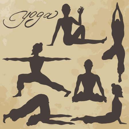 Yoga pose. Silhouette. Asanas. Icons. Handwriting. Aged paper. Texture.