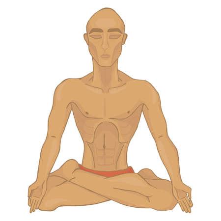 breathing exercise: yoga pranayama(color) (isolated)