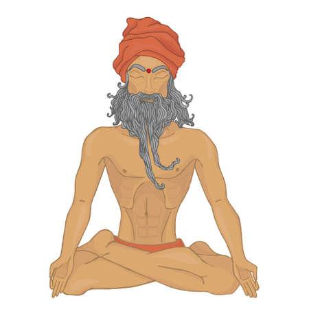 pranayama: yoga pranayama old Hindu man