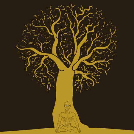 pranayama: Yoga Pranayama under the tree