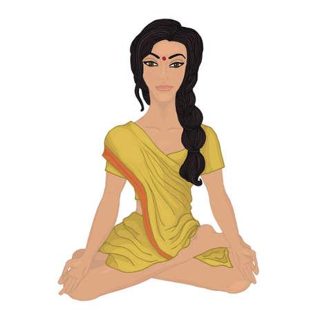 breathing exercise: yoga-pranayama Indian woman Illustration