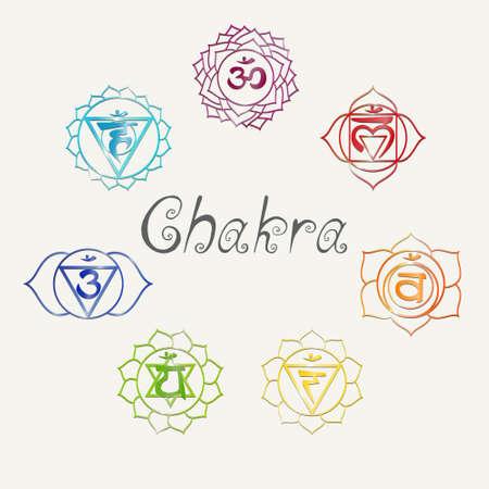 Yoga. Energy centers. Chakra Vector
