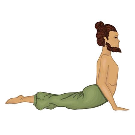 fortalecimiento: Yogi. un hombre con una barba. Bhudjangasana