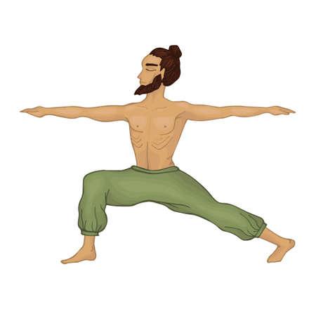 fortalecimiento: Yogi. un hombre con barba. Virabhadrasana_2.