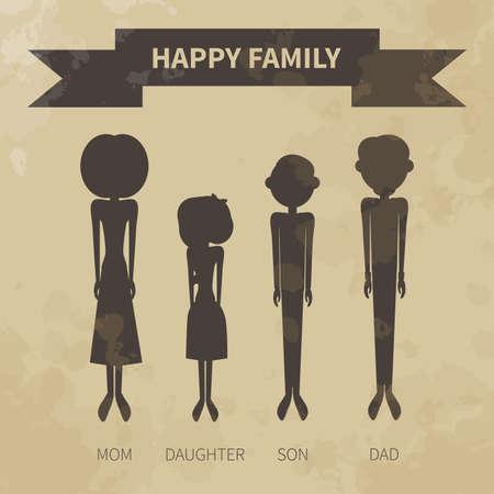 textura papel: familia feliz. Los iconos en un estilo plano. silueta. Papel de edad. Textura.
