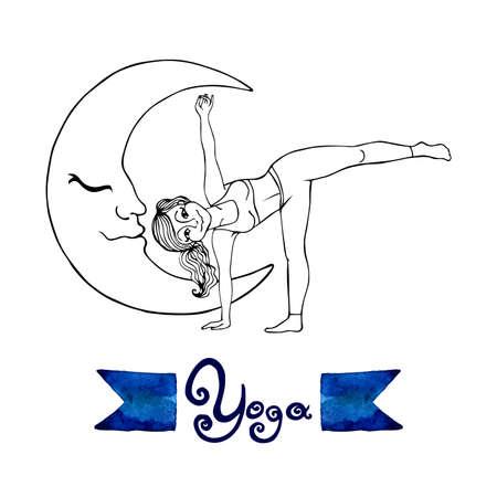 chandrasana: ardha chandrasana posture (Hatha Yoga)