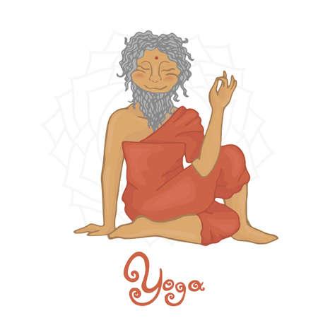 hatha: Ardha Matsiendra (Hatha Yoga) sage Matsiendra Illustration