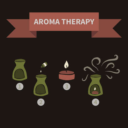 aroma: aroma therapy icons (set Doodle) Illustration